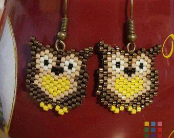 Owl earrings blue owl earrings Miyuki beaded by MiMundoJewelry