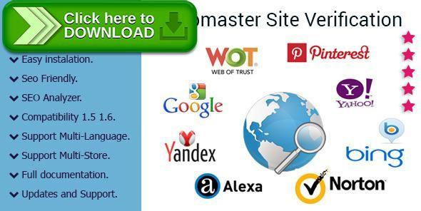 [ThemeForest]Free nulled download Webmaster Tools Site Verification Module for PrestaShop from http://zippyfile.download/f.php?id=57272 Tags: ecommerce, alexa prestashop, bing prestashop, google meta tag, google site verification, multi-store, mywot prestashop, necessary SEO, norton safeweb prestashop, pinterest prestashop, seo analyzer, seo reports, verification prestashop, webmaster tools, yahoo prestashop, yandex prestashop