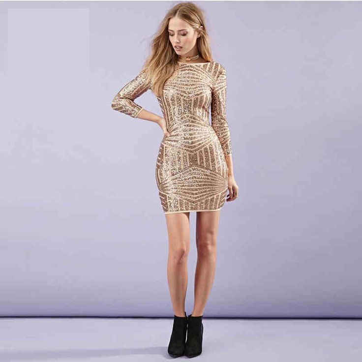 New European Gold Women Dresses Sexy Backless Bodycon Women Dresses Luxury Sequined Dress