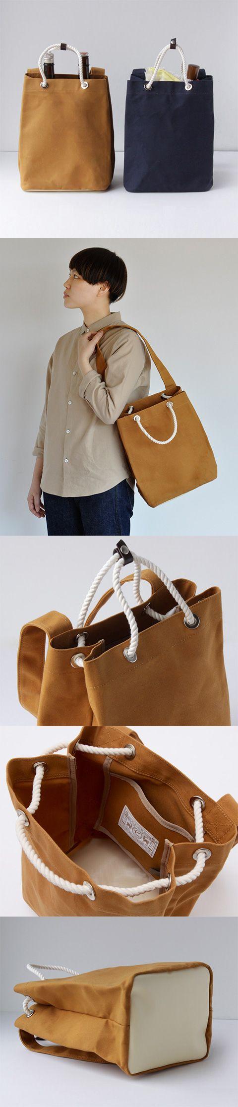 【BAGWORKSコラボ酒屋男(中川政七商店)】/BAGWORKSとコラボレーションして「むかしのしごとのかばん」をコンセプトにかばんを作りました。 酒屋と顧客の間で、酒瓶の運搬用として用いられた通い袋。 一般に帆布など厚手の生地製で、耐久性に優れた昔のエコバッグです。 通い袋のシンプルな機能に更に使いやすさをプラスし、日常にお使いいただけるバッグを作りました。 #bag #bagworks