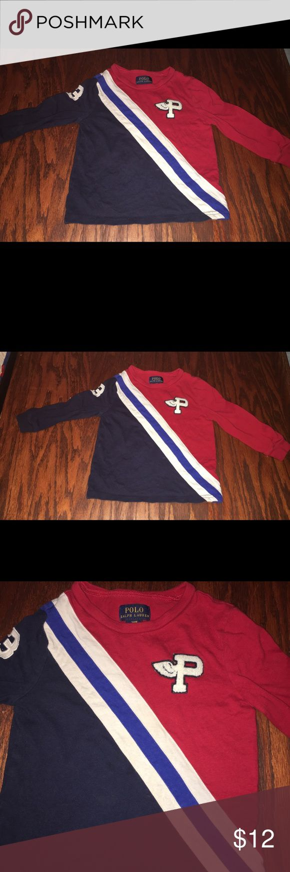 POLO Ralph Lauren 24M shirt Worn a few times cute with a puffy logo patch on shirt Sz 24M great for now and spring Polo by Ralph Lauren Shirts & Tops