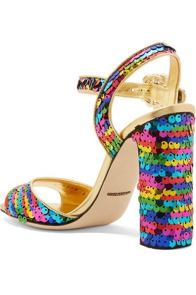 Dolce & Gabbana - Crystal-embellished Sequined Metallic Leather Sandals - Gold - IT