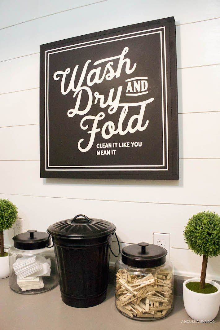 new laundry sign update one year later ahouseandadogcom - Laundry Room Decor
