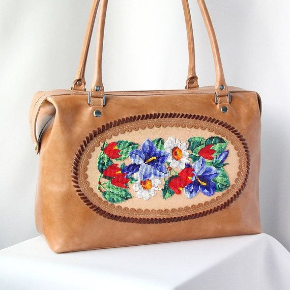 Brown leather bag, women leather bag, embroidery bag, flower bag, casual leather bag, leather bag, hand made bag