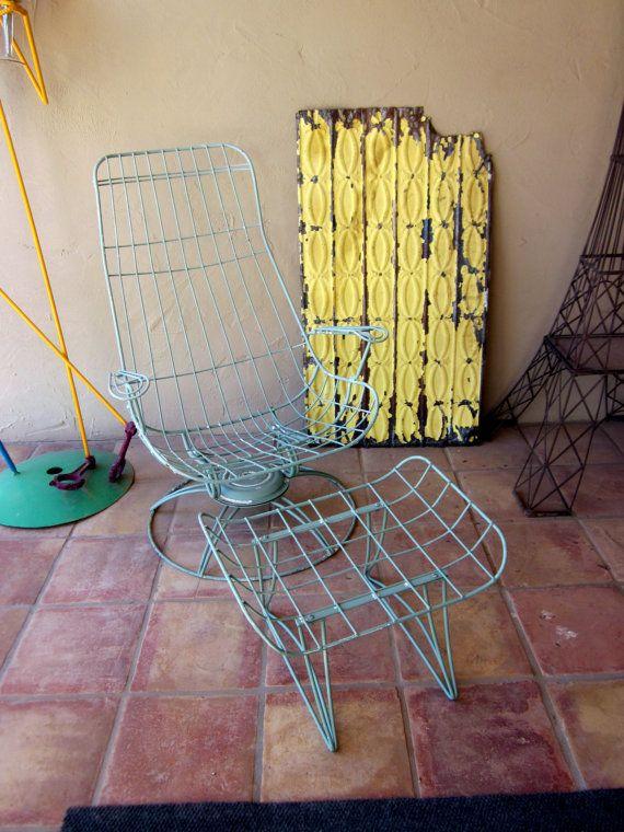 Vintage HOMECREST Eames Era Bertoia PATIO Furniture Homecrest Tall Swivel  Chair Plus Ottoman Plus Side Table