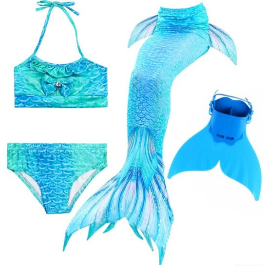 Kids Best Mermaid Tails for Swimming Swimsuit Bikini M with Fins Monofin Flipper for Girls