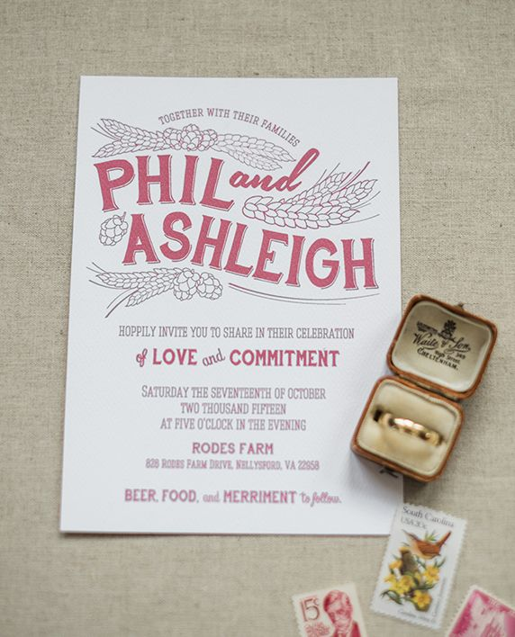 Craft Beer Wedding Invitation Suite with a hops & laurel design in burgundy Red with kraft paper accents for the envelope and map - perfect for the beer enthusiast couple and a rustic fall wedding!