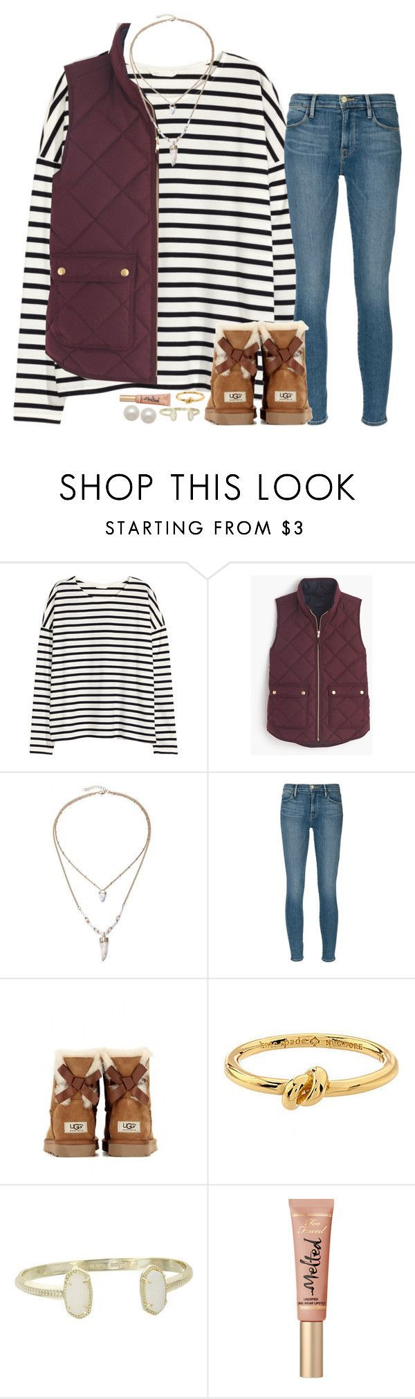 """a sky full of stars and he was looking at her."" by ellaswiftie13 on Polyvore featuring H&M, J.Crew, Frame Denim, UGG Australia, Kate Spade, Kendra Scott and Honora"