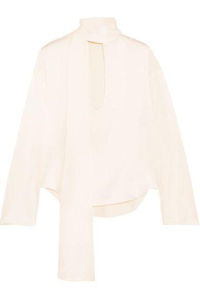 JUAN CARLOS OBANDO Pussy-Bow Silk-Satin Blouse. #juancarlosobando #cloth #tops