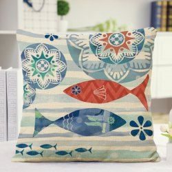 Mediterranean Style Floral Stripe Fish Design Pillow Case - BLUE AND RED