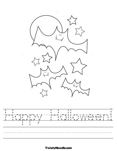 happy halloween worksheet from twistynoodlecom - Halloween Worksheets Preschool