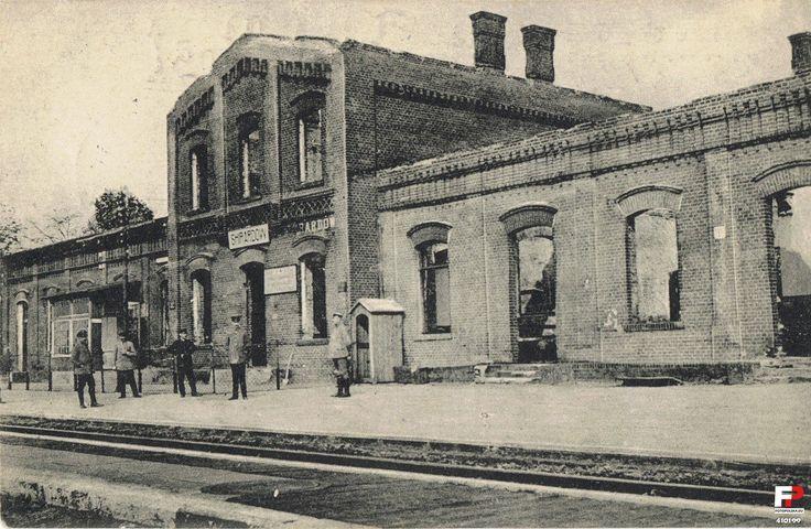 Dworzec kolejowy, Żyrardów - 1915 rok, stare zdjęcia