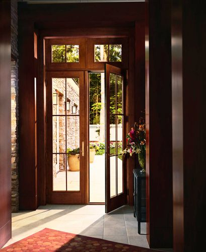 Anderson 400 Series Frenchwood® Hinged Patio Door   Inswing With Transom