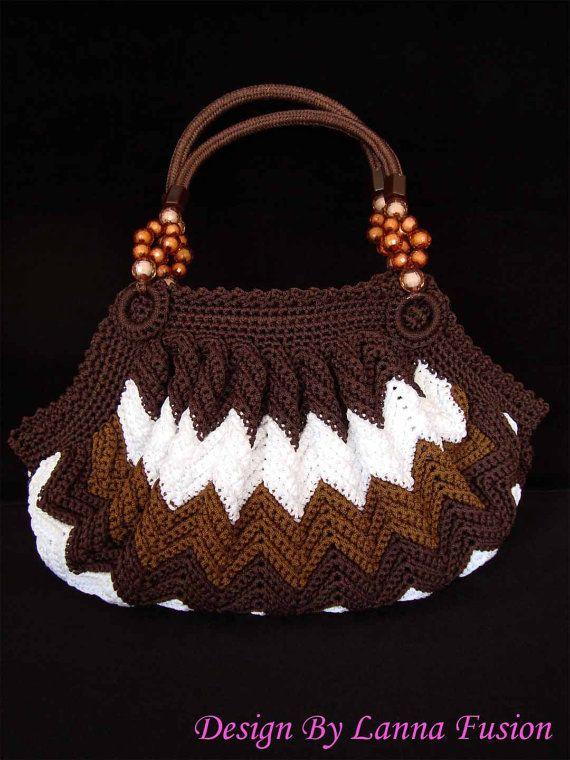 Marrone e bianco Chevron Crochet maniglia borse marrone borsetta marrone borsa marrone Tote Chevron lusso borse marrone borse di lusso (N17)