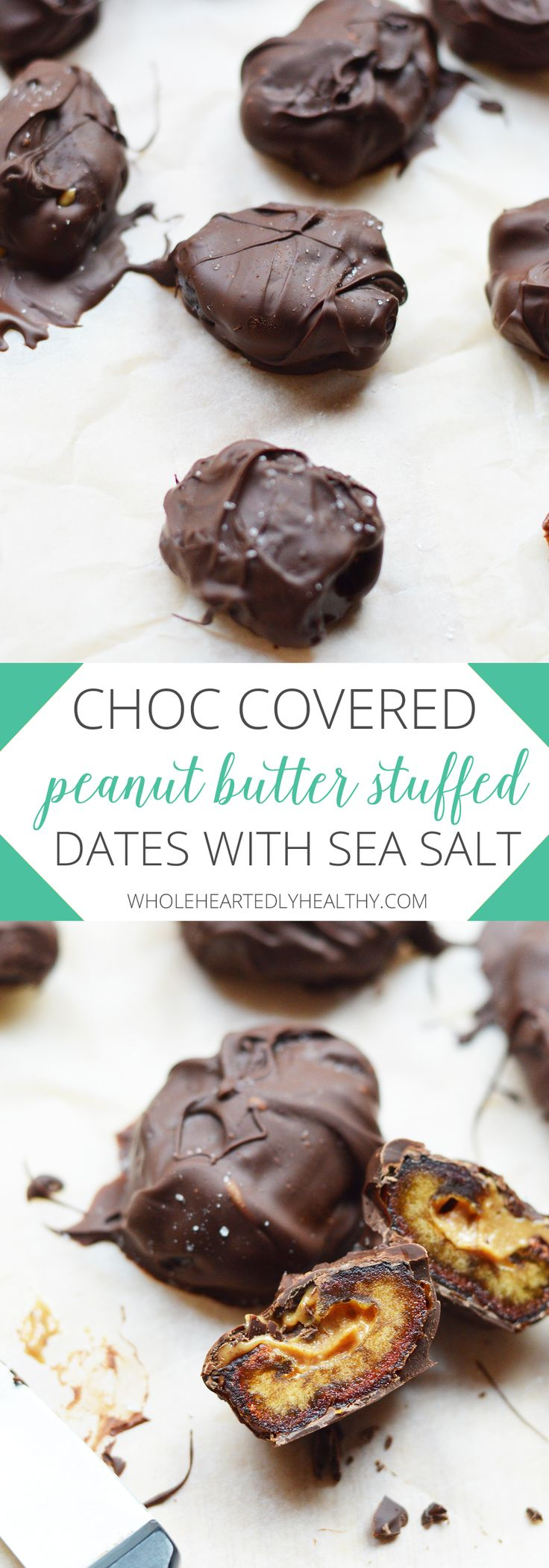 Delicious chocolate covered peanut butter stuffed dates with sea salt
