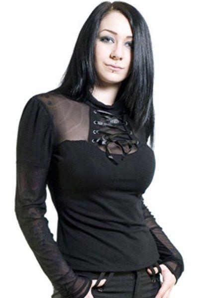 Lace-Up Black Net & Jersey Top