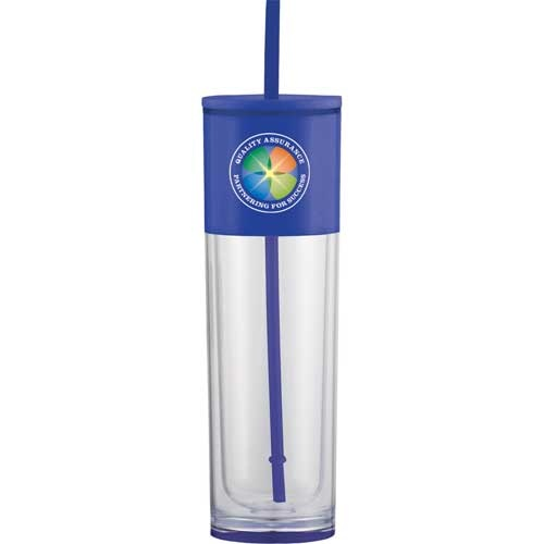 Ice Cool Tumbler 18oz Be ice cool with this sleek shape and fun color pops. Double-wall acrylic tumbler and straw with stopper. Large opening for easy cleaning and filling. BPA Free. 18oz. FOUR COLOR PROCESS CAN BE DONE!!!