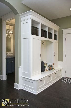 Mudroom - behind the front door, along that wall? Built ins to store shoes and other stuff?