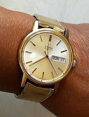 Estate Vintage Omega Automatic Mens Gold Fill Stainless Day Date Watch
