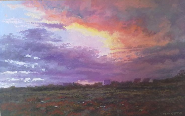 Sunset in Prince Albert 500 x 800mm oils & Brush on Board SOLD