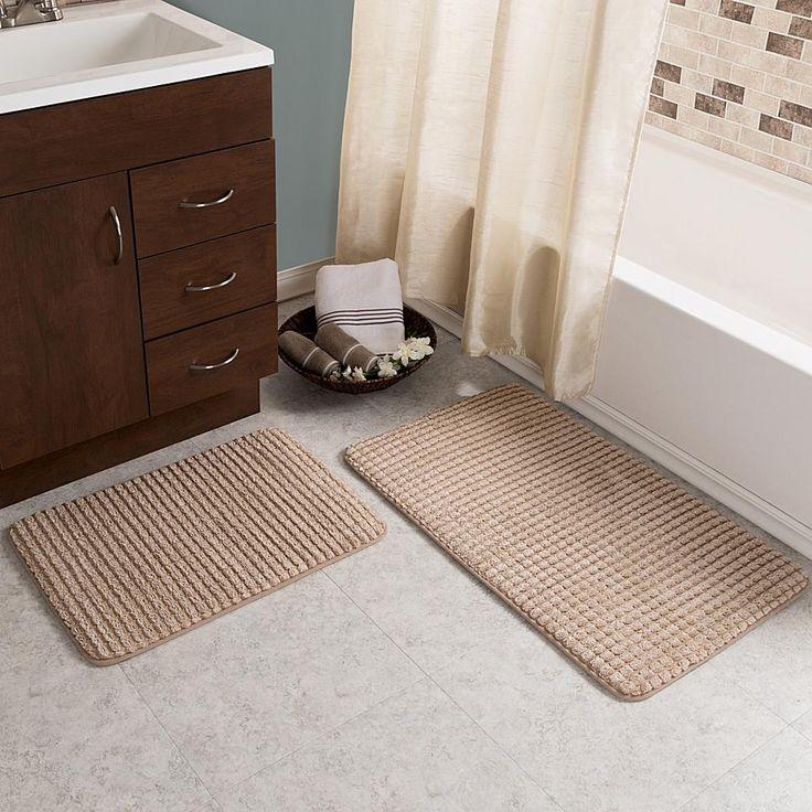 Trademark Global Lavish Home Jacquard Fleece Memory Foam Bath Mat 2-piece Set - Tan