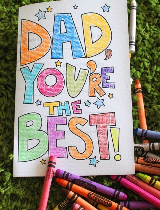 Fathers Day Card from kids Printable.   Has a fill in the blank message on the i...