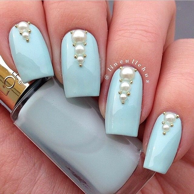 56 best nail art with pearls images on pinterest nail ideas blue and pearls nail art prinsesfo Image collections