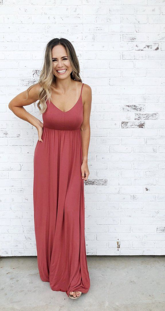 Cullen Brick Solid Brick Maxi Dress With Empire Waistline And Strappy Back Detail Brick Maxi Dress Maxi Dress Summer Dre Maxi Dress Fashion Outfits Dresses
