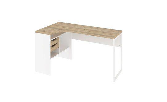Descrizione Struttura: Pannello e metallo          Colore: Bianco      Piano d'appoggio: 1    Colore: Rovere chiaro   Ripiani: 1...