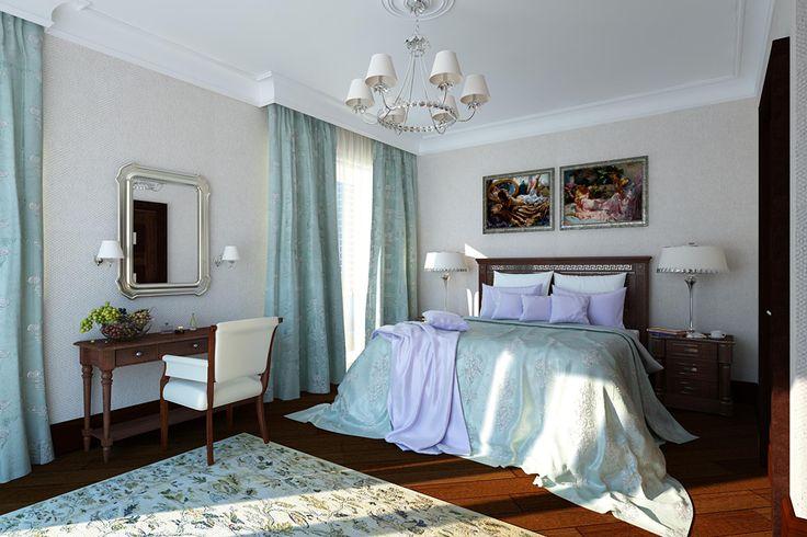 Классическая спальня в фиолетово-зеленых тонах. Автор проекта — Надежда Лыга, Москва.