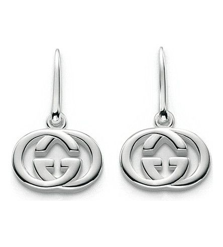 GUCCI Gg 18Ct Silver Drop Earrings. #gucci #earrings