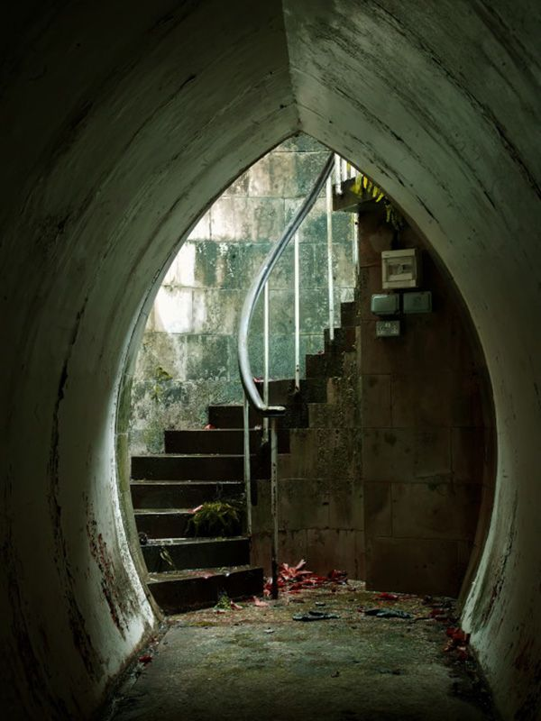 The stairs down to Whitley Wonder in England, built by Whitaker Wright as a secret underwater ballroom in the park - Surrey, England.