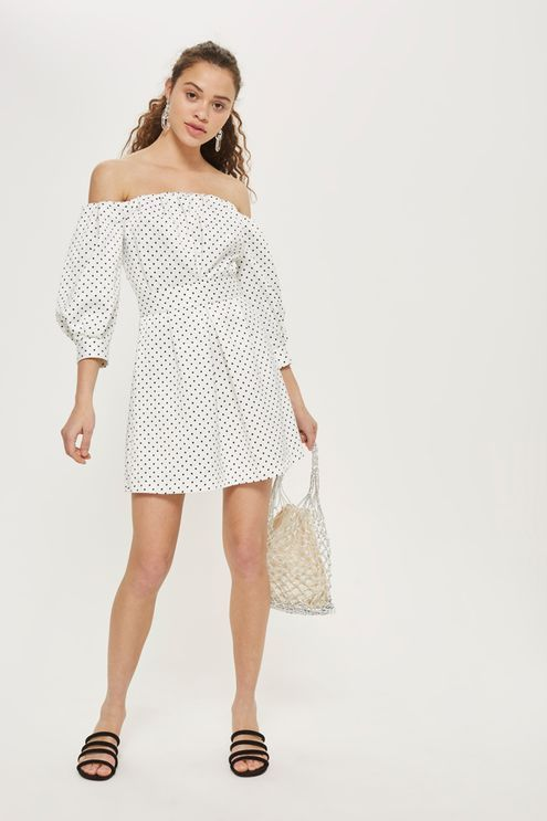 Mini Polka Dot Bardot Dress