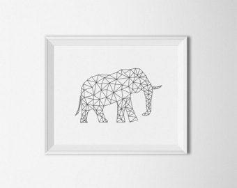 Geometrische olifant kunst, Origami kunst, digitale, moderne kunst, geometrische kunst, zwart en wit, olifant wall art, olifant print, Wall afdrukken