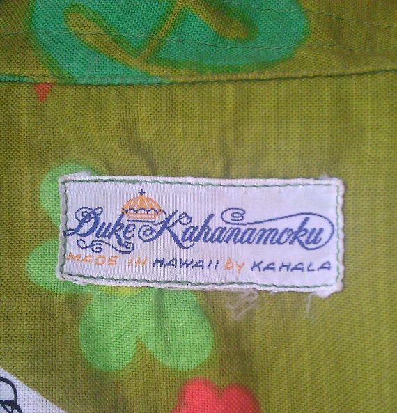 """RARE Vintage Hawaiian Shirt Duke Kahanamoku """"Suck Em Up"""" 1960s"""