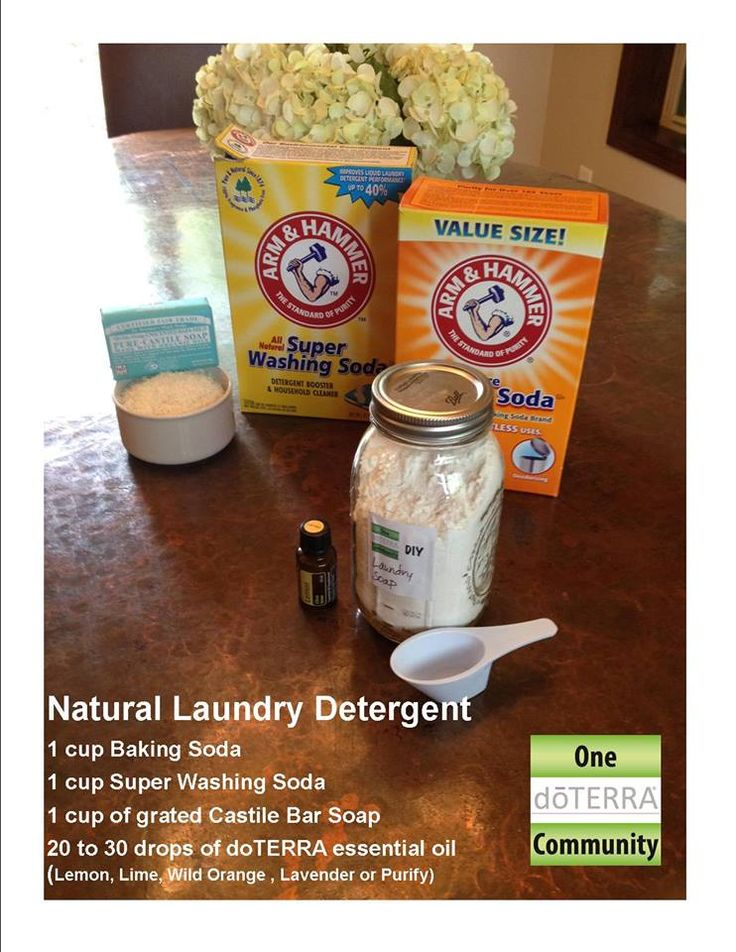 Natural Laundry Detergent made with essential oil- This is a super easy DIY that works great, smells amazing and will save you lots of money. Oh and it will help you to eliminate toxic chemicals in your home as well! Put one cup each of the three dry ingredients into the mason jar, add the essential oils and shake to mix. Done!