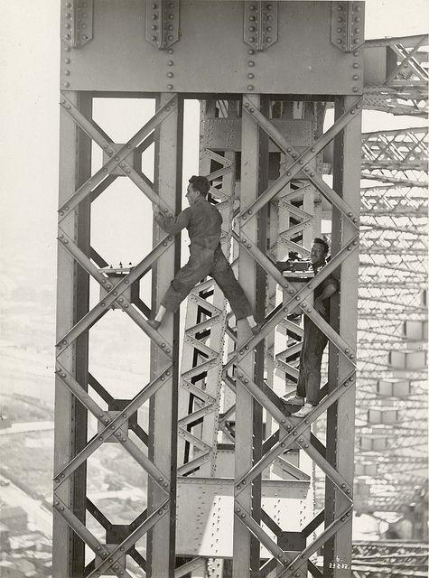 Taking strain measurements on post - Sydney Harbour Bridge NSW Australia 1932