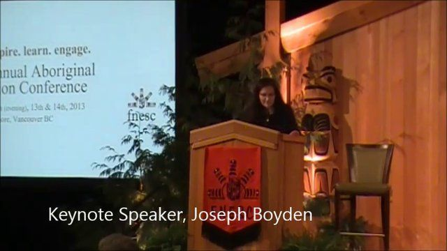 Joseph Boyden, Keynote FNESC Conference 2013. He tells three stories in this presentation: Sugar Girl (about residential school), The First Time I Died and a third short story (from his life). Very powerful.