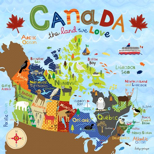 Make Quilt that everyone can sew a button from where they came from! Canada Map_Grainger
