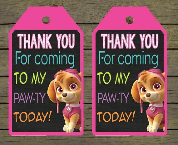 Skye Paw Patrol Digital Thankyou Thank You Card Tag