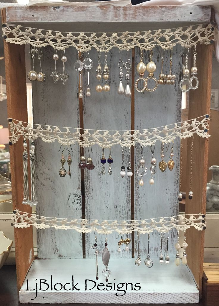 earrings display from a vintage crate and lace trim. Very easy to do. LjBlock Designs .