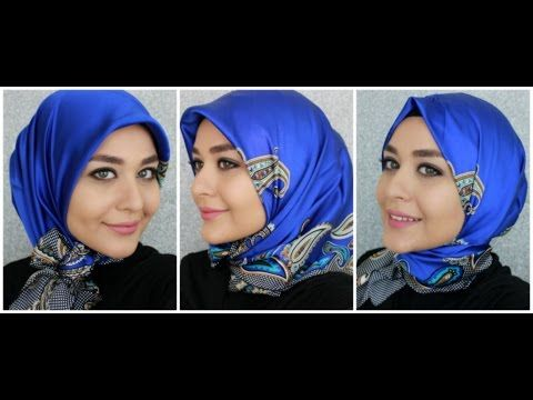 3 Turkish Inspired Hijab Styles - Square Silk Scarf from Armine | Muslim Queens by Mona - YouTube