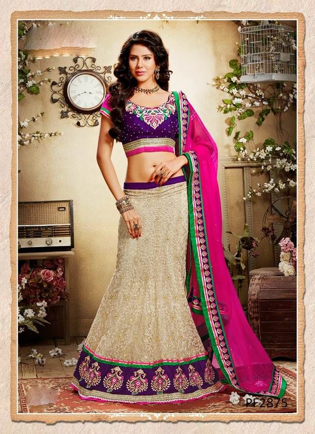 #LehengaCholi is the perfect attire to steal the show in style. Make heads turn for you on that special occasion with Lehenga Choli collection on Ethnic Station http://www.ethnicstation.com/lehenga-1/lehenga-choli/beige-lace-work-lehenga-PF2875