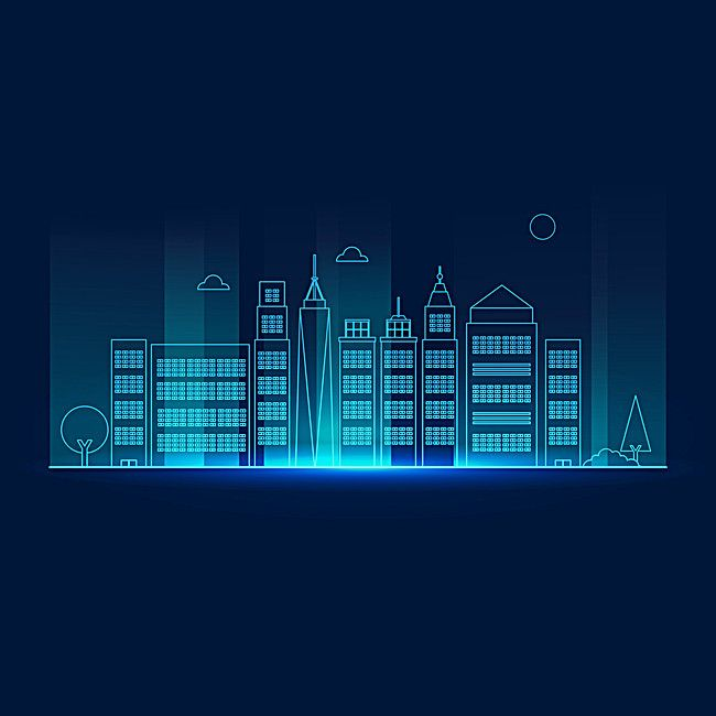 Vector city light posters, Blue, Light, City, Background image