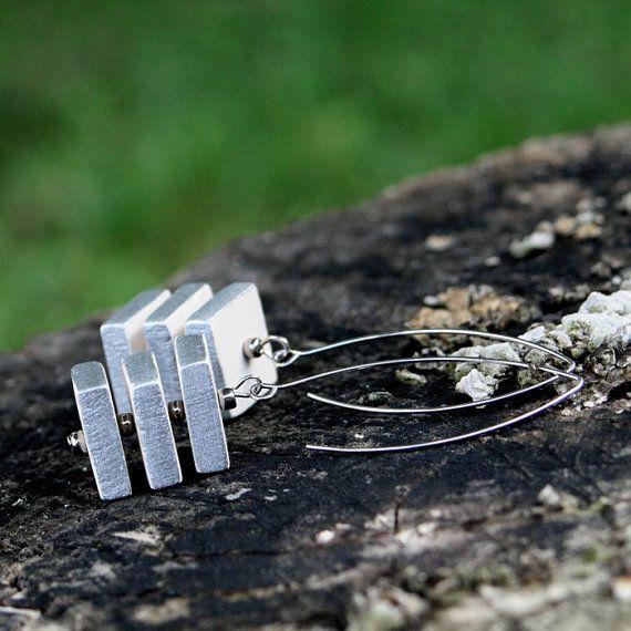 Silver cube ceramic earrings by Brekszer on Etsy
