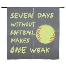 Chalkboard Seven Days Without Softball Curtains for