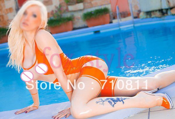transparent latex dress with long stocking in orange and trasparent color