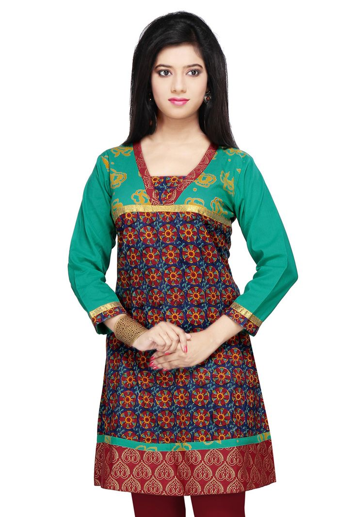 Teal Green, Blue and Multicolor Cotton Readymade Tunic Online Shopping: TQJ57