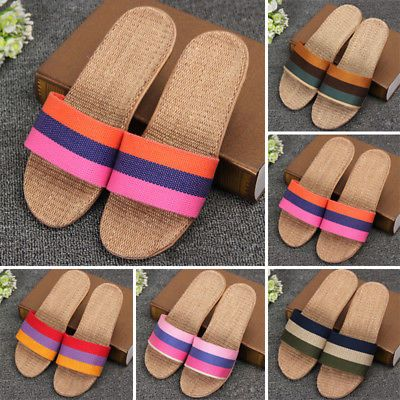 1bf37bf6d55b Women Men Summer Open Toe Flat Shoes Unisex Anti-slip Linen Home Indoor  Slippers