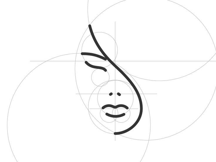 Woman Portrait Logo by Roland Huse. Line art logomark with golden ratio circles.